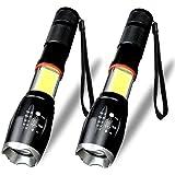 Nasharia LED COB Taschenlampe, 2 Stück LED Taschenlampe mit 6 Modi Arbeits Taschenlampe mit Magnet 800 Lumens Tragbar Wasserfest Zoombar Taschenlampe für Camping Wandern Radfahren Notfall