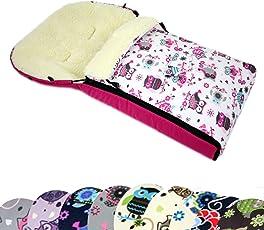 BAMBINIWELT universaler Winterfußsack (90cm oder 108cm), auch geeignet für Babyschale, Kinderwagen, Buggy, aus Wolle im Eulendesign