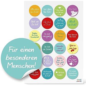 24 Etiketten #1 D= 4 cm Viel Glück Sticker Aufkleber