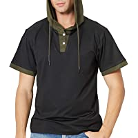 Men's Short Sleeve Hoodie V Neck T-Shirt with Hood