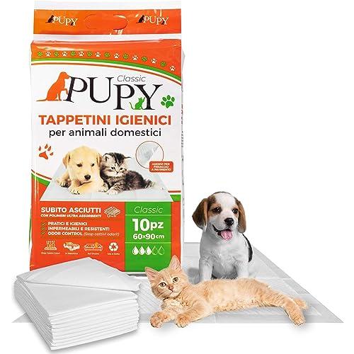 PuPy 20 Classic Tappetini Igienici Assorbenti per Cani, 60x90, con Adesivi, Polimeri Ultra-assorbenti, addestramento pipì Animali Domestici (20 PZ 60x90)