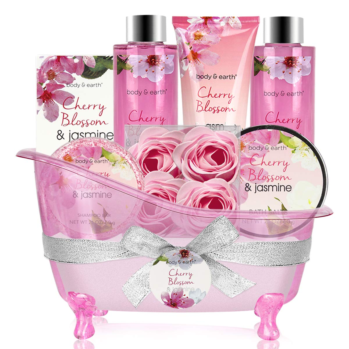 Bath and Body Gift Set – 8 Piece Gift Basket with Cherry Blossom & Jasmine Scent – Includes Bubble Bath, Shower Gel, Soap, Body & Hand Lotion, Bath Salts and More, Perfect Gift Set for Women