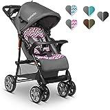 Lionelo Emma Plus Kinderwagen Kindersportwagen leicht modern klein Buggy mit Liegeposition zusammenklappbar (Pink Scandi…