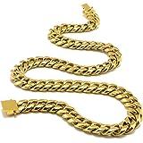 Miami, catena o bracciale cubano, placcato in oro 24 K, stile hip hop, a maglie cubane, solido e resistente, per uomo e ragaz