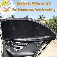 AUTOWINGS KFZ Sonnenschutz für Kinder–Auto Accessories-Blocks UV-Strahlen, Cover Rückseite Windows–Schützt Baby Kinder und Haustiere–Premium QUALITÄT Auto Sun Shades