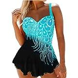 WangsCanis Costume da Bagno Donna Tankini 2 Pezzi Canottiera + Pantaloncini da Bagno Push Up Beachwear Swimsuit per Mare Spia
