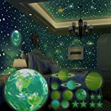 SnailGarden 470 Piezas Pegatina Pared Fluorescente,Luminoso Sistema Solar y Estrellas Luminosas Pegatina Pared de la Habitaci
