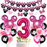 Fangleland Minnie Themed Party Decorations Supplies 3rd Birthday Minnie Balloons Cake Topper for Girls 3 Birthday