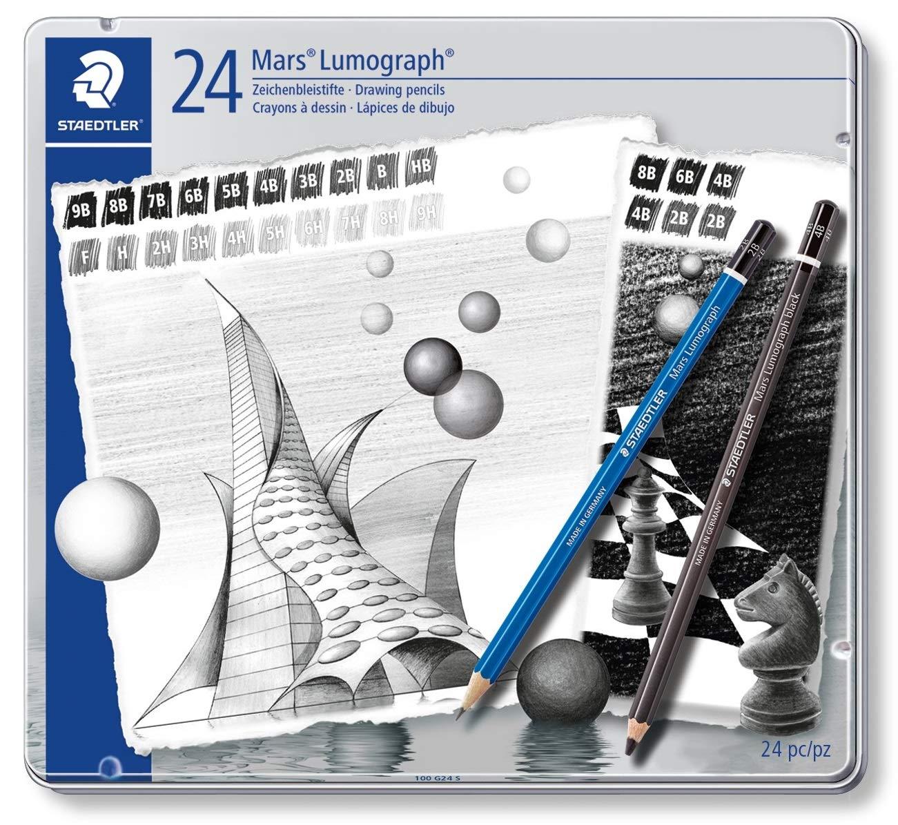 STAEDTLER Mars Lumograph 100 G24 S ST Pack de 24 Lápices de Dibujo de Distinta Dureza, Negro