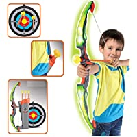 Toyshine Big Size Red Grey Archer Toy with Lights, Quiver and 3 Suction Arrows and Target