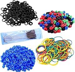 Segolike Tattoo Supply Kit Wholesale 100 O-rings 100 Elastic Rubber Bands 100 Grommets 100 Nipples & Brush Set Colorful Tattoo Machine Tool Supplies - blue