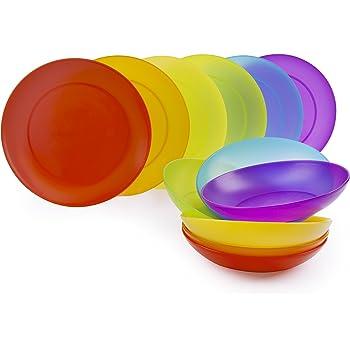 Excelsa rainbow servizio piatti 12 pezzi plastica set casa e cucina - Piatti plastica ikea ...