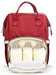 Diaper Bag Mummy Bag Baby Travel Backpack Bag Large Waterproof Bag, Red