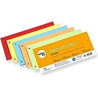 perfect line Lot de 100 bandes de séparation en papier avec onglet en 5 couleurs intenses Couleurs assorties, cartes de…
