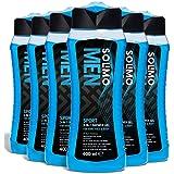 Marchio Amazon - Solimo Gel doccia sport uomo 3 in 1 (Corpo, viso, capelli) Freschezza per 24 ore- Confezione da 6 (6 flaconi