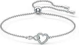 Swarovski Braccialetto Infinity Heart, Bianco, Placcato Rodio
