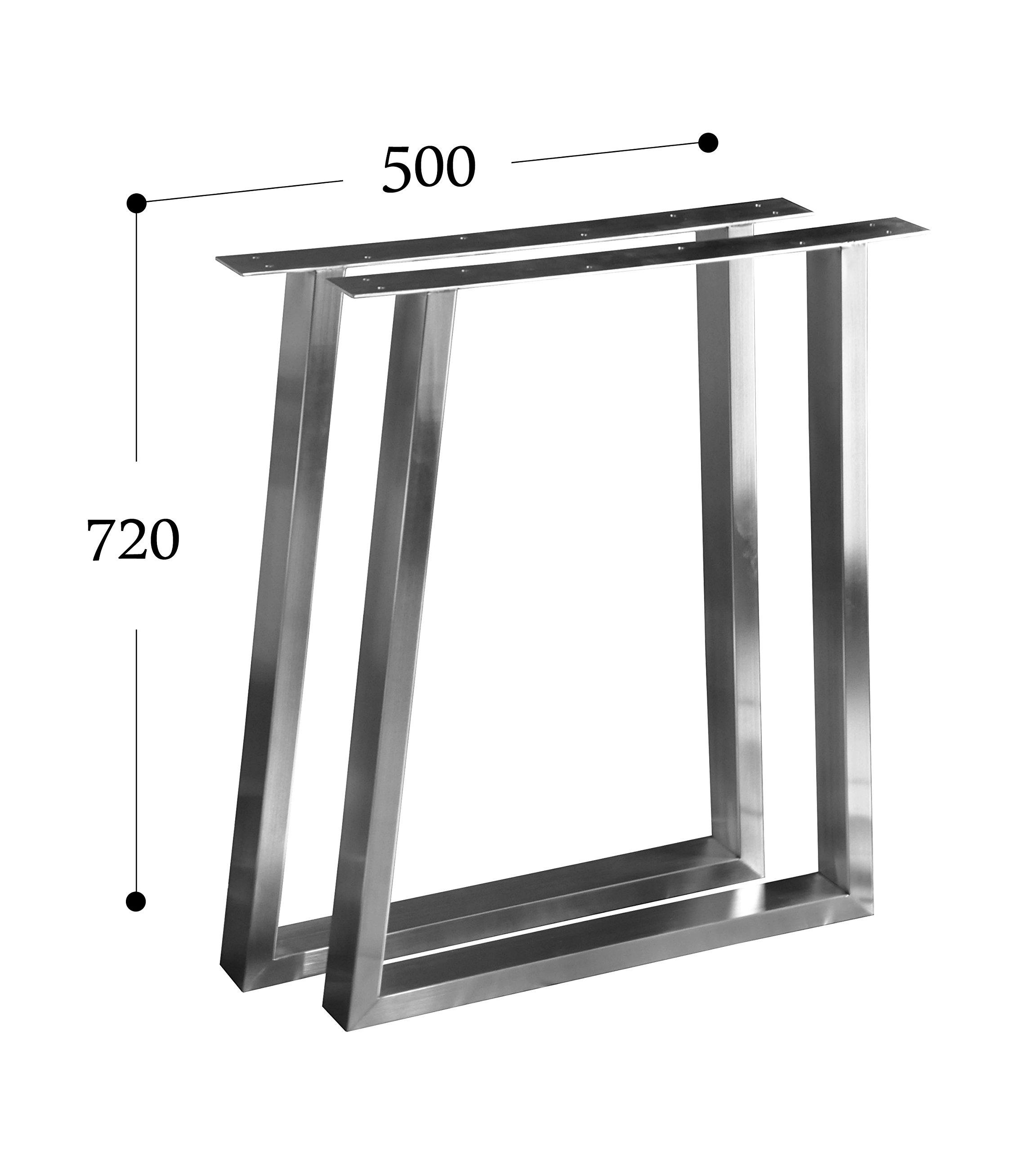 CHYRKA T-Tischgestell Edelstahl 201 60x30 Trapez Rahmentisch Kufengestell Tischkufe Tischuntergestell (720 x 500 mm - 1 Paar) 1