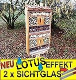 Insektenhaus dunkelbraun Teak Look mit Schmetterlingshaus braun insektenhotel, mit Holzrinde-Naturdach, mit Spezialoberflächenbeschichtung
