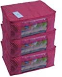 Homestrap Cotton Quilted Large Saree Cover Bag/Wardrobe Organiser with Transparent Window- Pink - Pack of 3
