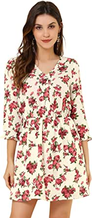 Allegra K Women's Floral Print Belted V Neck Ruffle Cuff Fit and Flare Dress