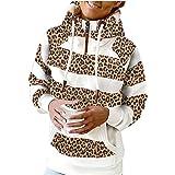 Bestyyo Mujeres cuello alto raya leopardo impresión casual manga completa con capucha bolsillo sudaderas suéter SW09080468