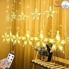 Salcar Lichterkette mit LED Kugel 12 Sterne 138 Leuchtioden Lichtervorhang Sternenvorhang