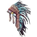 KARMABCN Y11 Indiano Copricapo Medio della Piuma Doppio (36 Pollici Lunghi) (Turquoise And Black Rooster)