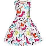 AmzBarley Niñas Unicornio Vestido de Princesa Arco Iris Fiesta del Unicornio Vestirse para Niñas