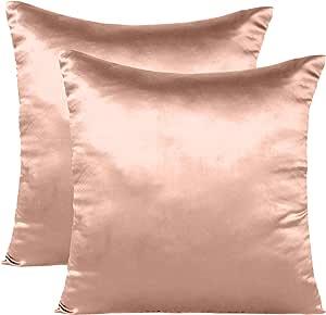 Oussum Soft and Comfortable Silky Satin Silk Pillowcase Pillow Case Cover for Hair & Skin Home Decor (Cushion Cover Terracotta, 12 x 12)