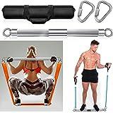 DASKING Fitnessbanden, weerstandsbanden, afneembare trainingsbar, oefenbanden, powerlifting-fitnessstang, zilver (maximale be