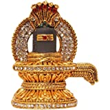 EASY4BUY® Brass 24 K Gold Plated with Stones Hindu God Shivling Car Dashboard Idol