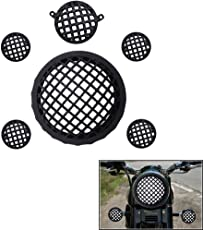 Trustway HP-01 Bike Headlight Tail Light Indicator Cover Grill/Protector Fine Finishing of Black Set of 6 pcs for Royal Enfield Classic 350