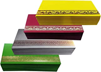 Grasme Pack of 100 Flower Designer Money Envelope, Shagun Envelop, Wedding, Engagement, Any Occasion Cash Gift Money Cover Made with Card Paper Sheet 7.4 X 3.8 inch, 225 GSM (25X4, Packof100)