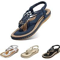 Camfosy Sandales Femmes Plates, Chaussures Été Tongs à Talons Plats Claquettes Nu Pieds Semelle Compensée Confortable…