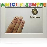 Cornici per foto in legno con la scritta Amici x Sempre, da appoggiare o appendere, misura 13x18 cm Bianca. Ideale per…