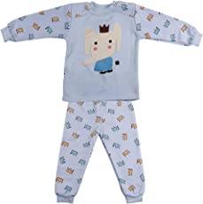 Miss U Baby Boys Baby Girls Kids High Quality Winter Wear Night Suit Night Wear Set Cute Graphic Print Top and Pajama with Inner Fur