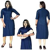 Magic Mart Women's Cotton Straight Maternity/Feeding Kurti with Zippers Unieq Design