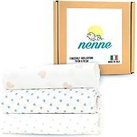 nenné Mussole Neonato 100% Cotone Morbido Made in Italy - Copertina Neonato Cotone Leggera 70 cm x 70 cm set da 3 pezzi…