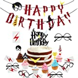 xingqiwu Harry Potter Party Supplies - Happy Birthday Banner Harry Potter Ispirato Cupcake Toppers, Wizard Glasses e Tatuaggi