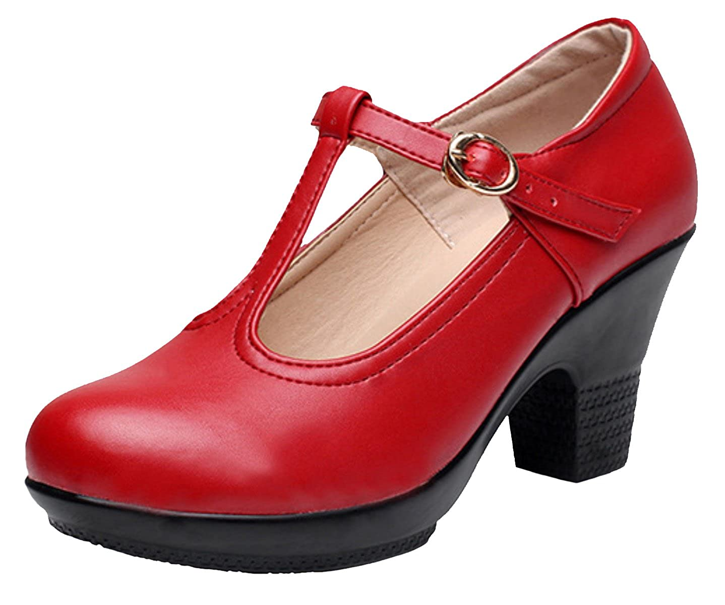 afd25db5d5f DADAWEN Women s T-Strap Platform Court Shoes Mid Heel Mary Jane Shoes   Amazon.co.uk  Shoes   Bags