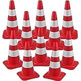 10x Birilli Stradali Cono Segnaletico Spartitraffico 29 x 50 cm Piloni con Strisce Riflettenti Coni Avvertimento di…
