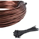 ART IFACT 33 Feets Bonsai Training Wire and 100 Pieces of Cable tie - Holding for Trees (1mm Diameter, Anodized Copper…