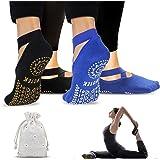 Calze da Yoga Antiscivolo Pilates Calzini Donna (2 Pairs)- Yoga Calze Traspirante Yoga Socks Calzino Antiscivolo - per Pilate