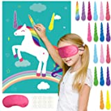 FEPITO Pin The Horn on The Unicorn Birthday Party Game with 24 Horns and 15PCS Unicorn Balloons for Unicorn Party…