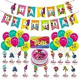 Troll Decoración de cumpleaños para niña, Feliz cumpleaños Conjunto de pancartas Troll Papel de Aluminio Globo Látex Confeti