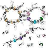 Czemo Charm Armband Kit Mädchen Schmuck Bastelset Setzen 3 Versilberte Ketten 20 Metallperlen 15 Anhängerperlen und 18 Regenb