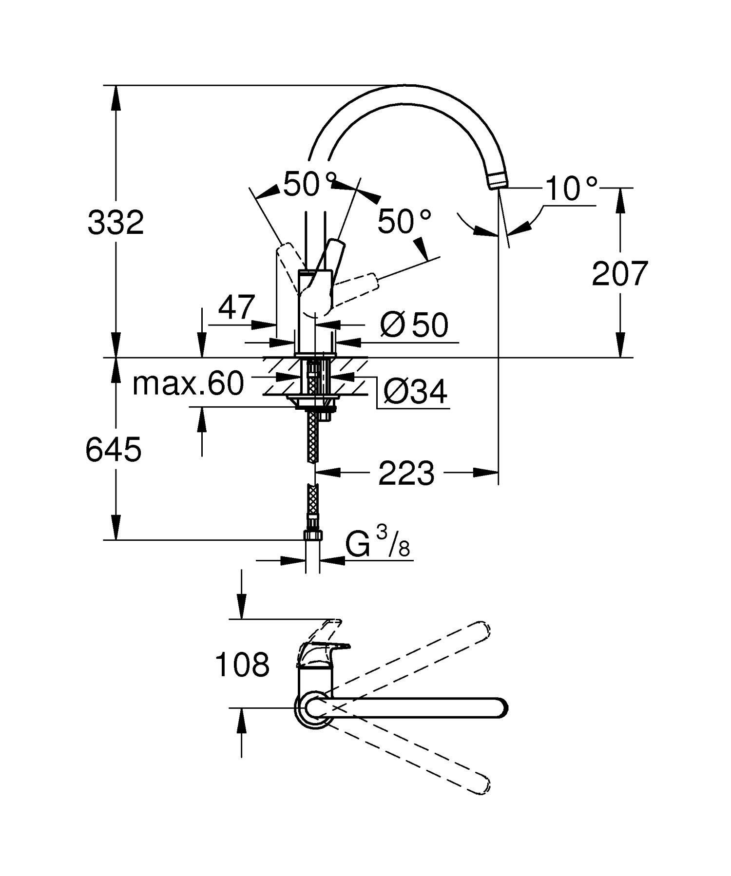 Grohe BauEdge – Grifo de cocina monomando para instalación en un solo agujero con caño alto giratorio en un ángulo de 360° (Ref. 31367000)