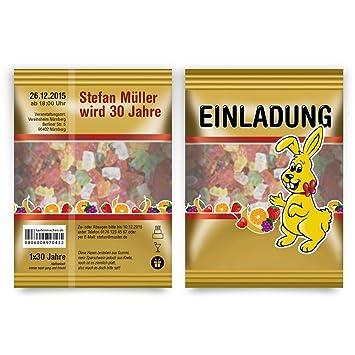 Einladungen (50 Stück) Als Gummibärchen Packung Hasen Einladungskarten