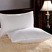 "ATOOTFUSION Microfiber Conjugate Hollow Fiber Filled Piece Pillow Set - 17"" x 27"", Antique White Striped (1)"
