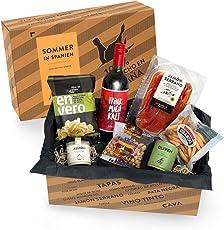 Feinkost-Präsentkorb Sommer in Spanien | Geschenkkorb gefüllt mit Sangria & spanischen Delikatessen | 8-teiliges Geschenk-Set ideal für Frauen & Männer